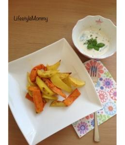 Food – Kinderessen, Pommes mit Dip (aus Süßkartoffeln)